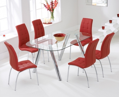 Mark Harris Pantheon 160cm Glass Dining Table with 6 California Red Chairs