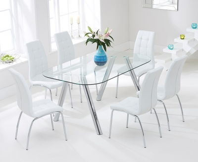 Mark Harris Pantheon 160cm Glass Dining Table with 6 California White Chairs