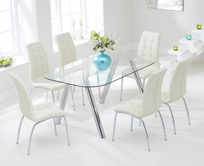 Mark Harris Pantheon Glass Dining Table and 4 California Chairs - Chrome and Cream