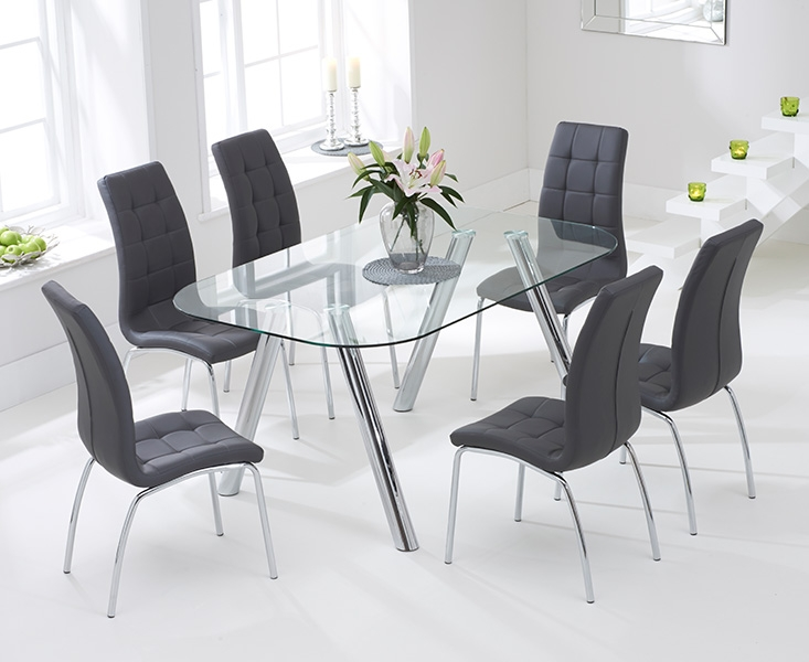 Mark Harris Pantheon 160cm Glass Dining Table with 6 California Grey Chairs