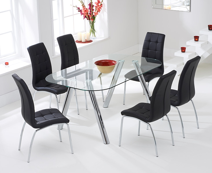 Mark Harris Pantheon Glass Dining Table and 4 California Chairs - Chrome and Black