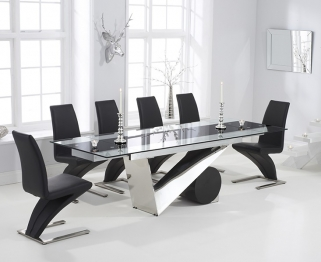 Mark Harris Peru 170cm Glass Extending Dining Table with 6 Hereford Z Black Chairs