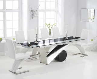 Mark Harris Peru 170cm Glass Extending Dining Table with 6 Hereford Z White Chairs