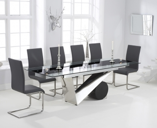 Mark Harris Peru 170cm Glass Extending Dining Table with 6 Malibu Grey Chairs