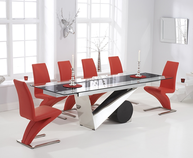 Mark Harris Peru 170cm Glass Extending Dining Table with 6 Hereford Z Red Chairs