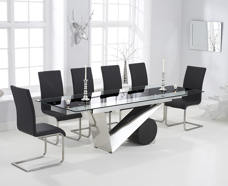 Mark Harris Peru 170cm Glass Extending Dining Table with 6 Malibu Black Chairs