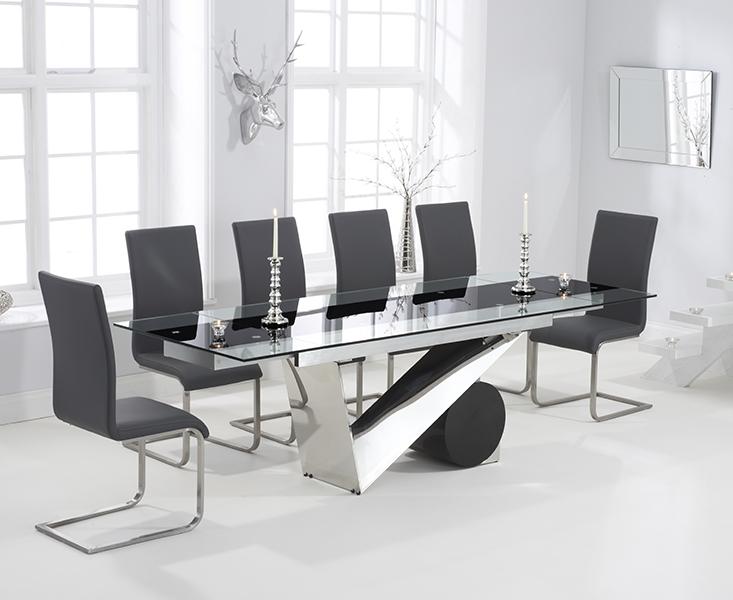 Mark Harris Peru 170cm Glass Extending Dining Set with 6 Malibu Grey Dining Chairs