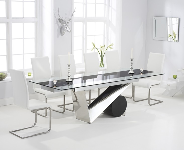 Mark Harris Peru 170cm Glass Extending Dining Table with 6 Malibu White Chairs