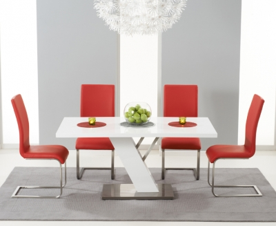 Mark Harris Portland White High Gloss 160cm Dining Table with 4 Red Malibu Chairs