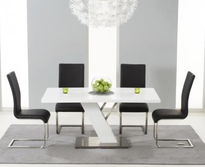 Mark Harris Portland White High Gloss Dining Table and 4 Malibu Black Chairs