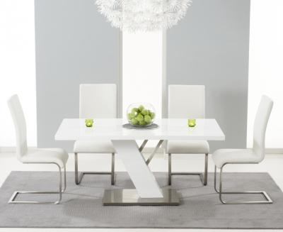 Mark Harris Portland White High Gloss Dining Table and 4 Malibu Ivory Chairs