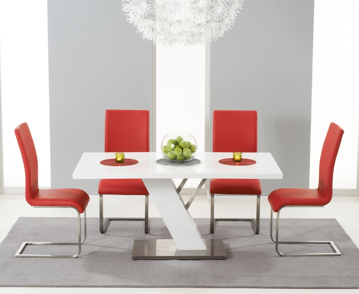 Mark Harris Portland White High Gloss 160cm Dining Set with 4 Red Malibu Dining Chairs