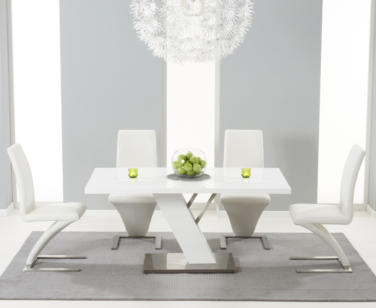Mark Harris Portland White High Gloss 160cm Dining Set with 4 White Hereford Dining Chairs