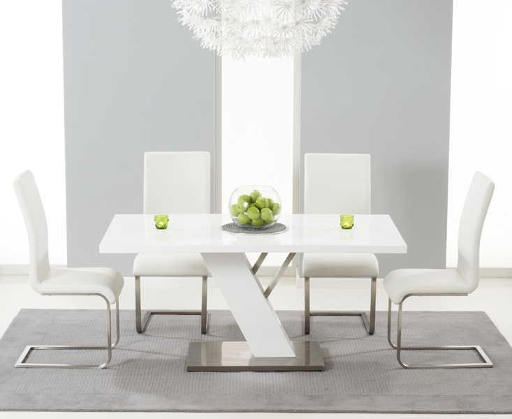 Mark Harris Portland White High Gloss 160cm Dining Set with 4 White Malibu Dining Chairs