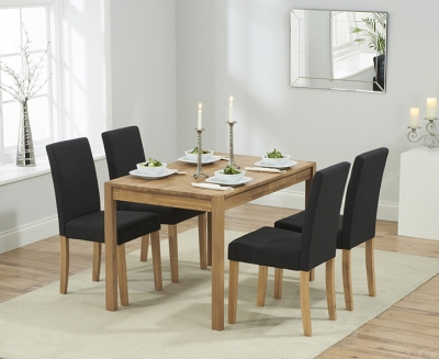 Mark Harris Promo Solid Oak 120cm Dining Table with 4 Maiya Black Chairs