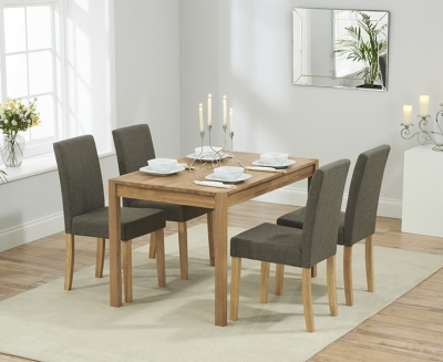Mark Harris Promo Solid Oak 120cm Dining Set with 4 Maiya Brown Dining Chairs