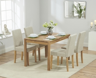 Mark Harris Promo Solid Oak 120cm Dining Table with 4 Maiya Cream Chairs
