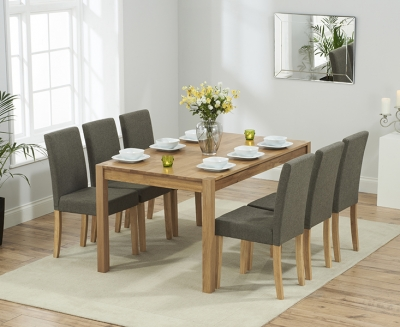 Mark Harris Promo Solid Oak 150cm Dining Set with 6 Maiya Brown Dining Chairs