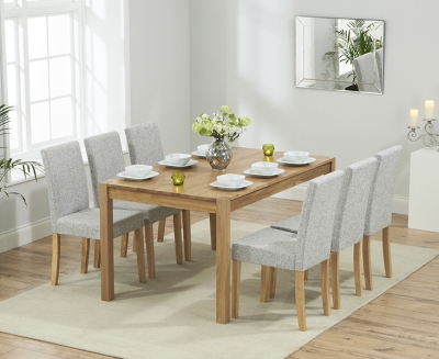 Mark Harris Promo Solid Oak 150cm Dining Table with 6 Maiya Grey Chairs