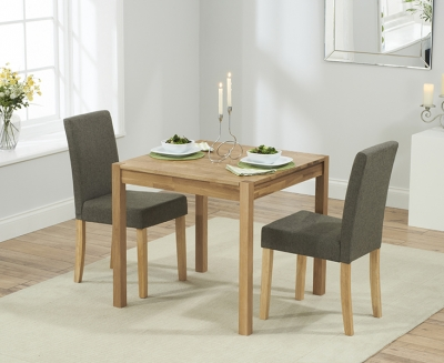 Mark Harris Promo Solid Oak 80cm Dining Set with 2 Maiya Brown Dining Chairs