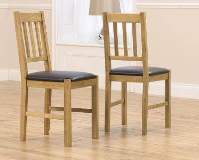 Mark Harris Promo Solid Oak Black Dining Chair (Pair)