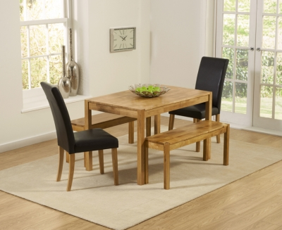 Mark Harris Promo Oak Dining Table with 2 Atlanta Brown Faux Leather Chairs and 2 Benches