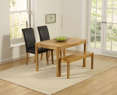 Mark Harris Promo Oak Dining Table with 2 Atlanta Brown Faux Leather Chairs and Bench