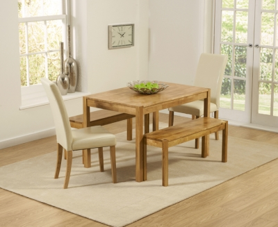 Mark Harris Promo Oak Dining Table with 2 Atlanta Cream Faux Leather Chairs and 2 Benches