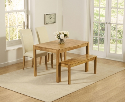 Mark Harris Promo Oak Dining Table with 2 Atlanta Cream Faux Leather Chairs and Bench