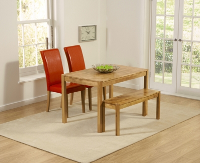 Mark Harris Promo Oak Dining Table with 2 Atlanta Red Faux Leather Chairs and Bench
