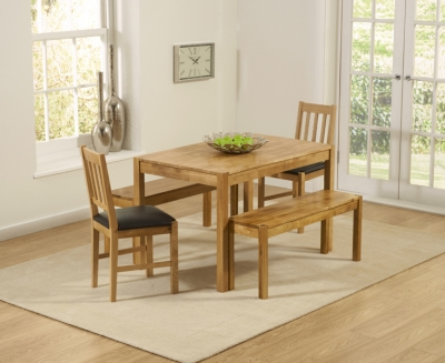 Mark Harris Promo Oak Dining Table with 2 Brown Chairs and 2 Benches