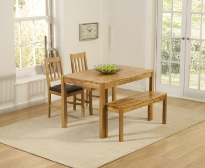 Mark Harris Promo Oak Dining Table with 2 Brown Chairs and Bench