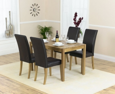 Mark Harris Promo Oak Dining Table and 4 Atlanta Brown Faux Leather Chairs