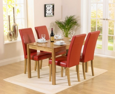 Mark Harris Promo Oak Dining Table and 4 Atlanta Red Faux Leather Chairs