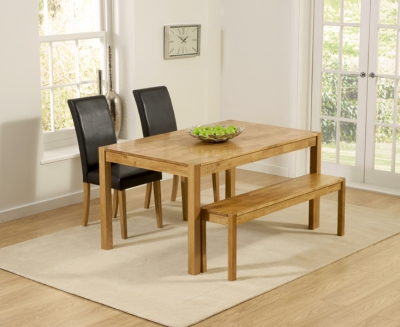 Mark Harris Promo Oak Large Dining Table with 2 Atlanta Brown Faux Leather Chairs and Bench