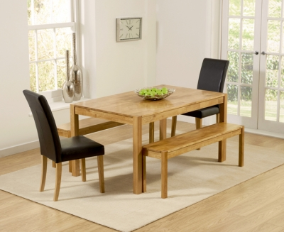 Mark Harris Promo Oak Dining Table with 2 Atlanta Brown Faux Leather Chairs and 2 Large Benches