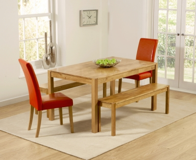 Mark Harris Promo Oak Dining Table with 2 Atlanta Red Faux Leather Chairs and 2 Benches