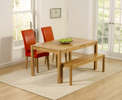 Mark Harris Promo Oak Large Dining Table with 2 Atlanta Red Faux Leather Chairs and Bench