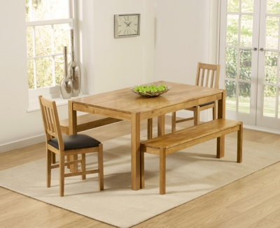 Mark Harris Promo Oak Large Dining Table with 2 Brown Chairs and 2 Benches
