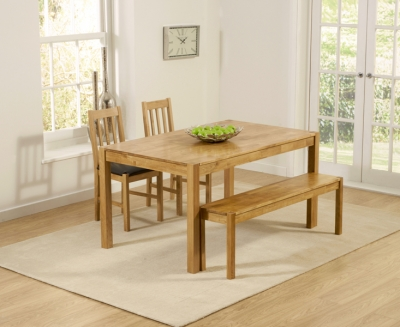 Mark Harris Promo Oak Large Dining Table with 2 Brown Chairs and Bench