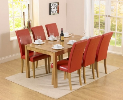Mark Harris Promo Oak Dining Table and 6 Atlanta Red Faux Leather Chairs
