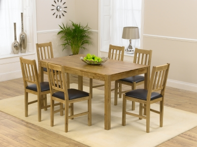 Mark Harris Promo Oak Dining Table and 6 Brown Chairs