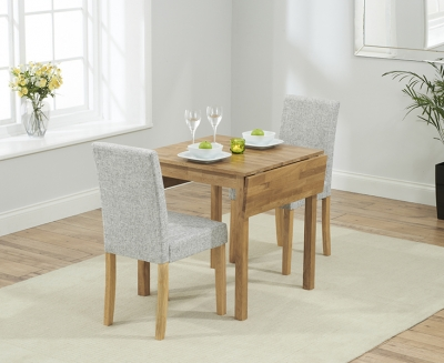 Mark Harris Promo Oak Square Drop Leaf Extending Dining Table and 2 Maiya Grey Chairs