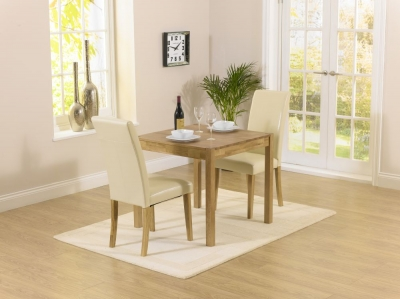 Mark Harris Promo Oak Square Dining Table and 2 Atlanta Cream Faux Leather Chairs
