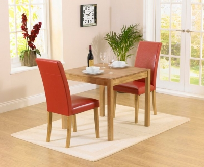 Mark Harris Promo Oak Square Dining Table and 2 Atlanta Red Faux Leather Chairs