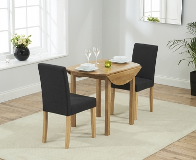 Mark Harris Promo Oak Round Drop Leaf Extending Dining Table and 2 Maiya Black Chairs