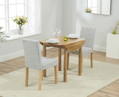 Mark Harris Promo Oak Round Drop Leaf Extending Dining Table and 2 Maiya Grey Chairs