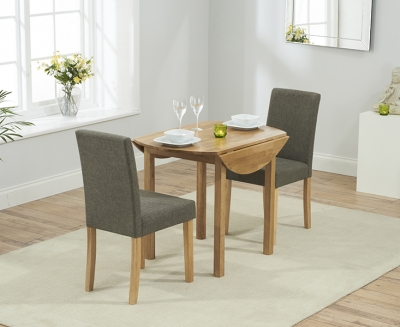 Mark Harris Promo Solid Oak Round Extending Dining Table with 2 Maiya Brown Chairs