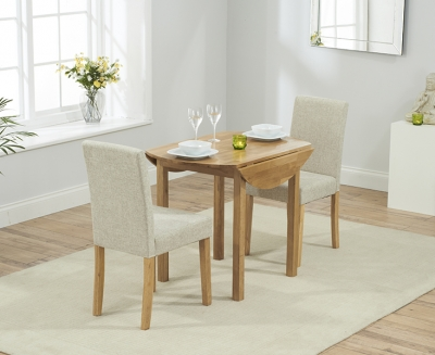 Mark Harris Promo Solid Oak Round Extending Dining Table with 2 Maiya Cream Chairs