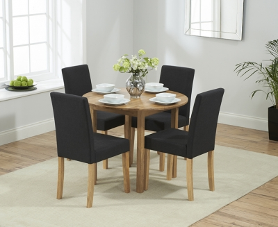 Mark Harris Promo Solid Oak Round Extending Dining Table with 4 Maiya Black Chairs